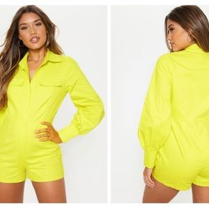 Neon Lime Button Up Detail Long Sleeve Romper